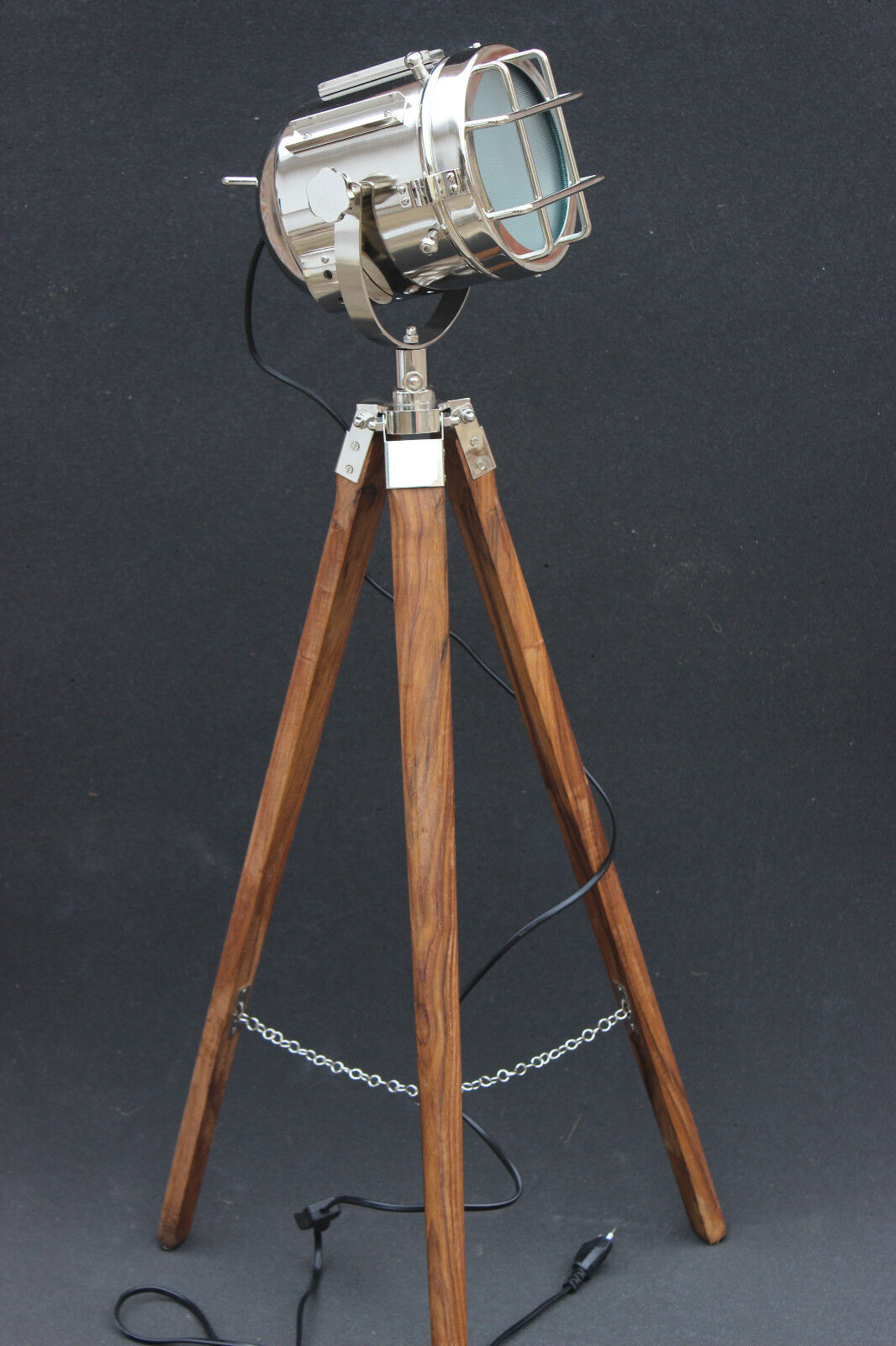 Hollywood led antique marine nautical spotlight decorative floor lamp tripod e27 ebay - Tripod spotlight lamp ...