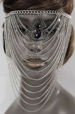 Women Silver Metal Chain Head Face Mask Fashion Jewelry Spider Web Net Halloween - Font Halloween Spider
