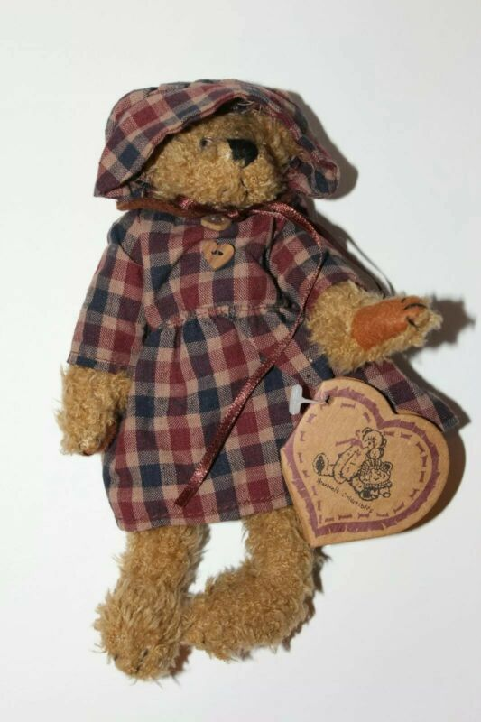 Vintage Heartfelt Collectibles Eleanor Jointed Plaid Teddy Bear With Tag