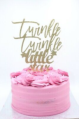 Twinkle Twinkle Little Star Gold Glitter Card Cake Topper,Cake Decor, Kids party