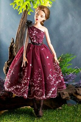 """handmade doll clothes for TONNER DEJA VU 16/"""" dark red dress gown"""