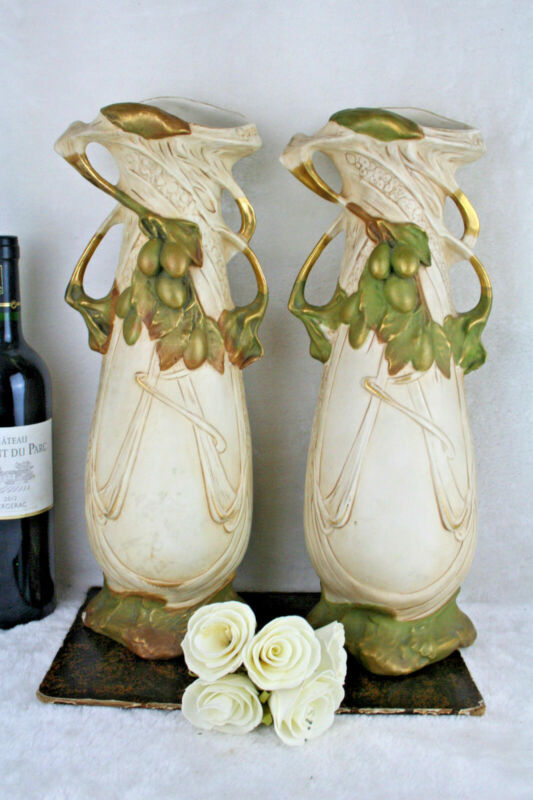 Antique Pair of Royal Dux porcelain vases Art Nouveau Bohemia 1900