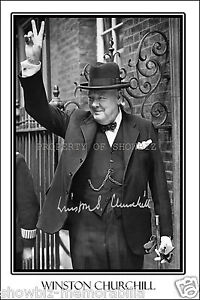 WINSTON CHURCHILL SIGNED AUTOGRAPH PHOTO POSTER PRINT-GREAT PIECE OF MEMORABILIA