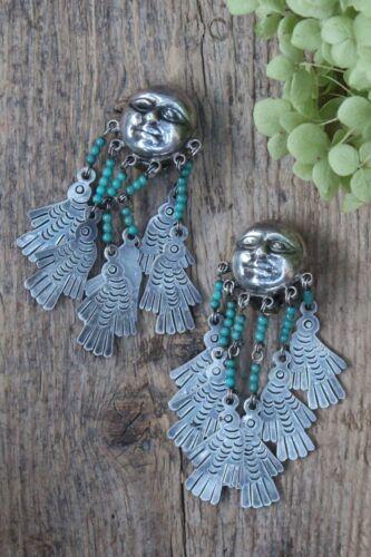 Federico Jimenez Sterling Clip Earrings Moon Face Birds Handmade Mexico Folk Art