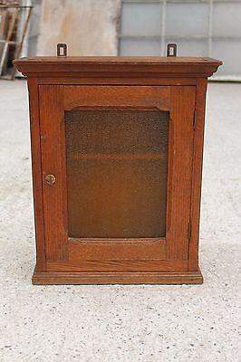 Antique Massive Oak Wooden Cupboard Cabinet with Glass Door #693