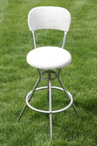 Vintage Mid Century Modern Cosco Swivel Bar Stool Chair Chrome Original Cover