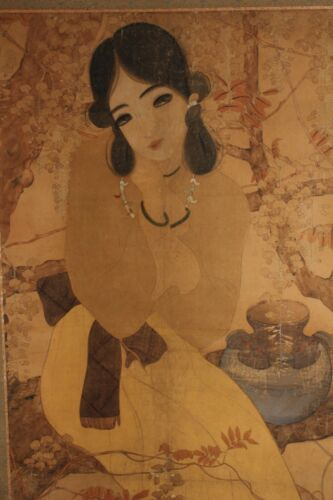 Beautiful painting depicting young girl , early 20th century  Z44