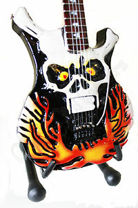 Miniature-Guitar-GEORGE-LYNCH-with-stand-FLAMING-SKULL-Lynch-Mob-Dokken