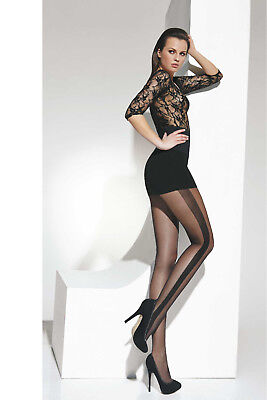 (Sexy Black Embroided Side Stripe Seamed women evening party Tights Hosiery T97)