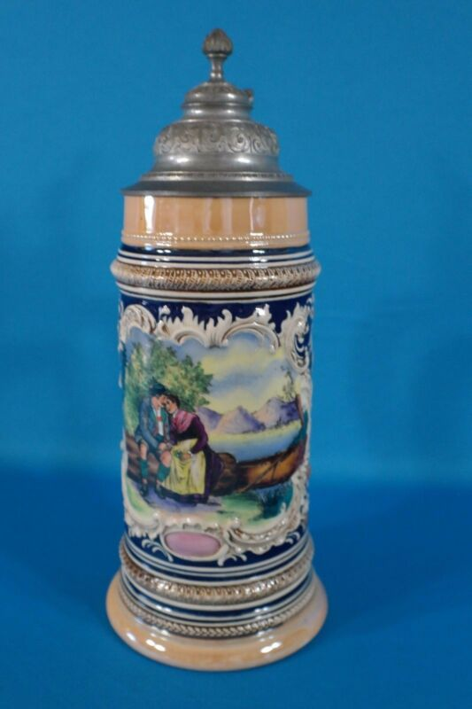 "Vintage 12 1/4"" High German Stein with Pewter Lid"