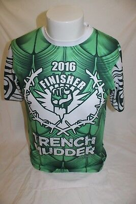 Trench Mudder 2016 Race Finisher Athletic Green Shirt Size Small Guam Guahan image