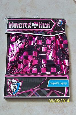 GIRLS MONSTER HIGH LOGO BLK/PINK CREEPERIFIC LEGGINGS COSTUME ACC S/M XS12690