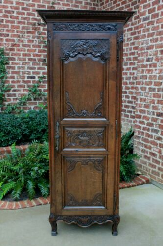 Antique French Country Armoire Wardrobe Cabinet Bookcase Liergues Bonnetiere Oak