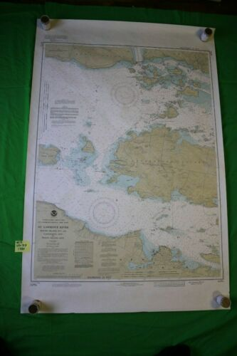 St. Lawrence River Round to Wolfe Islands 44x29 Vintage 1989 Nautical Chart/Map