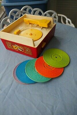 Vintage Fisher Price Wind-Up Music Box Record Player with 5 Records - works
