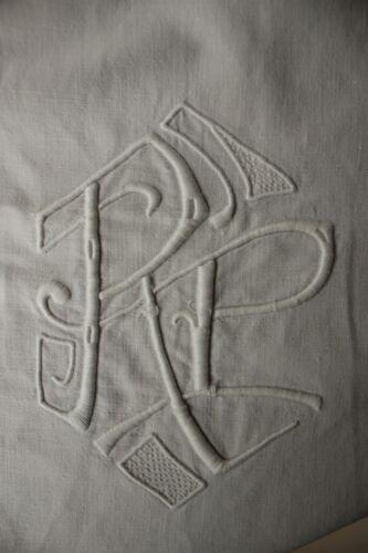Vintage French linen sheet trousseau RP monogram 87X120 inch LONG cotton heavy