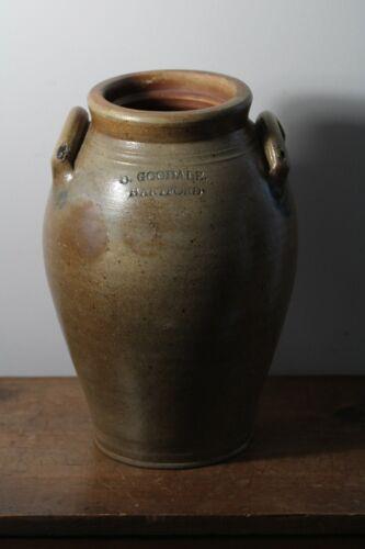 Antique 19thC D. Goodale Hartford Ovoid Stoneware Crock