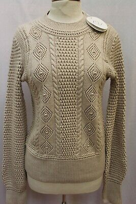 NEW See By Chloé Beige Cable Knit Crew Neck Wool Sweater Knit Pullover XL L $450