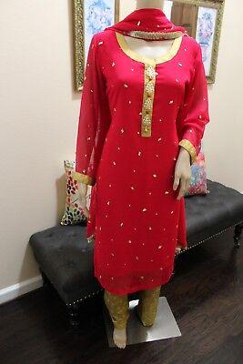 Pakistani  Pink & Gold Chiffon 3-Pieces Suit with Fancy Buttons & Gotta - Golden Chiffon Suit