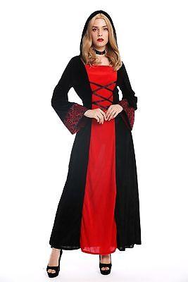 Kostüm Damen Frauen Karneval Kleid Mittelalter Elfe Prinzessin schwarz rot S