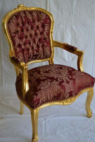 LOUIS XV ARM CHAIR FRENCH STYLE CHAIR VINTAGE FURNITURE BURGUNDI