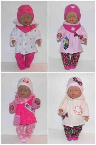 Puppenkleidung für  43 cm Puppe z.B. Baby Born 4 x Kapuzenjackenset Nr.219