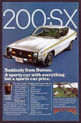 1977 Original Vintage Datsun 200-SX Car Photo Print Ad