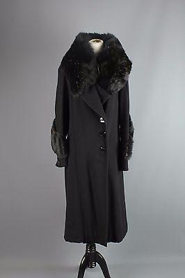 Vtg Women's 1930s Black Wool Coat w/ Full Fur Collar & Cuffs 30s Size M #1248