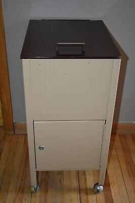Vintage Office Metal File Cabinet Filing Organizer Lock Locking Rolling W Key