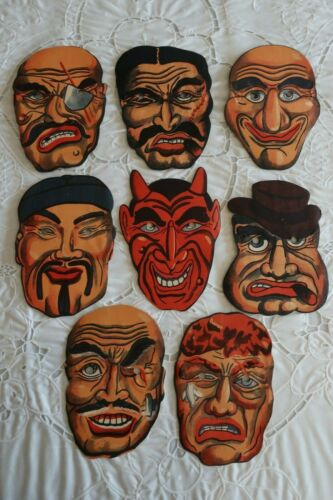 LOT OF 8 VINTAGE PAPER MASKS JAPAN HALLOWEEN NEW UNUSED