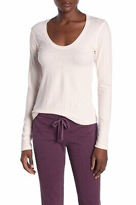 JAMES PERSE Brushed Cotton Scoop Neck Long Sleeve In Baby Pink Size 0 XS WMU322