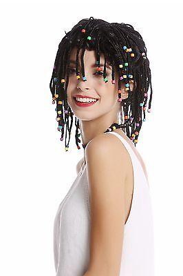 Perücke Damen Herren geflochtene Zöpfe Perlen schwarz Afro Karibik Rasta Hippie ()