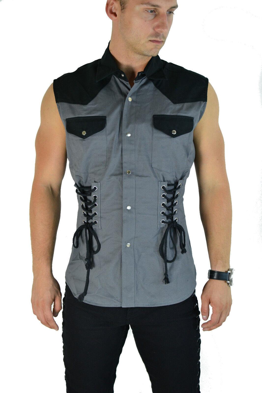 SHRINE GOTHIC CORSET STEAMPUNK ROCKER FETISH COWBOY BIKER SLEEVELESS VEST SHIRT Casual Button-Down Shirts