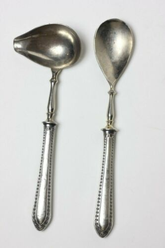 German 800 Silver Handle Spoon and Ladle Serving Pieces, 1900