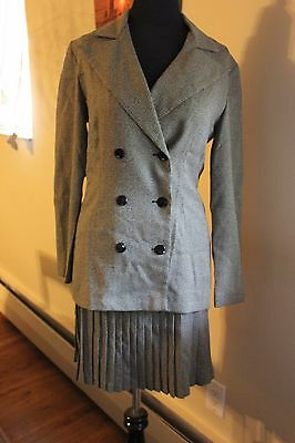 ELLEN FIGG TWO 2 PIECE SKIRT JACKET OUTFIT SUIT MOD VINTAGE STYLE PLEATED TWEED - Mod Suit Style