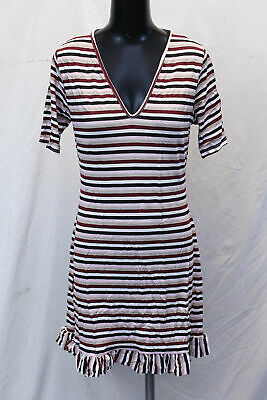 boohoo Women's Plus Stripe V Neck Frill Hem Skater Dress SV3 Pink US:12 UK:16