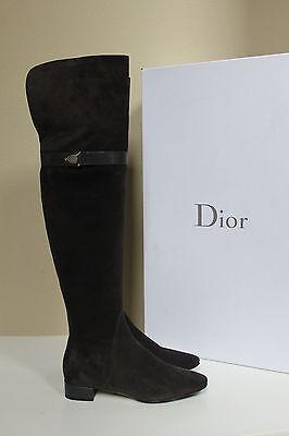 New sz 6 / 36 Christian Dior Gray Suede Blason Thigh High Tall Flat Boot Shoes
