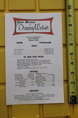 Dewey Weber Surfboards Rare 1960