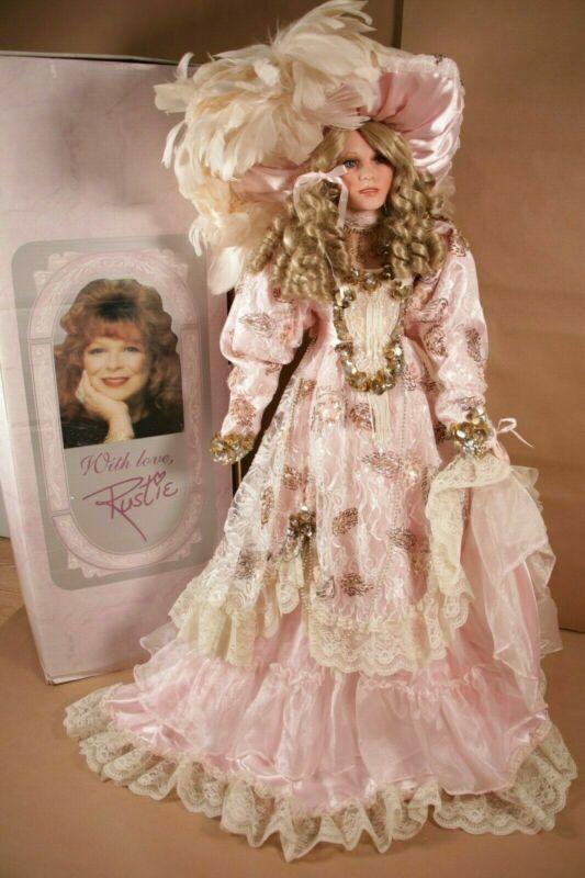 """Rare 34"""" Rustie Designer Porcelain Doll Pink Victorian Dress Blonde Girl- LE"""