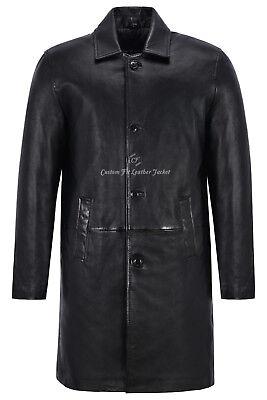 Men's Knee Length Leather Coat Black Classic 3/4 Trench Real Lambskin Coat 1476