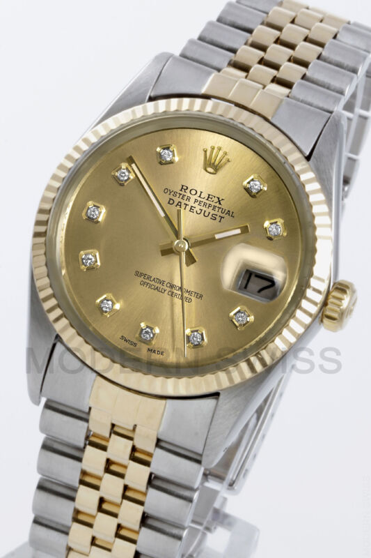 Rolex Mens Datejust Champagne Diamond Dial & Fluted Jubilee 16013 Quickset