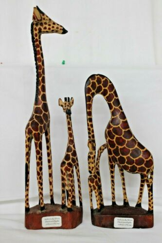"""2 large wooden Hand Carved Giraffe From Kenya 12"""" & 16.5"""" Tall"""