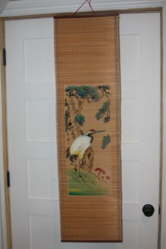 Vintage Chinese Red-crowned Crane Manchurian Crane wall hanging on bamboo marked