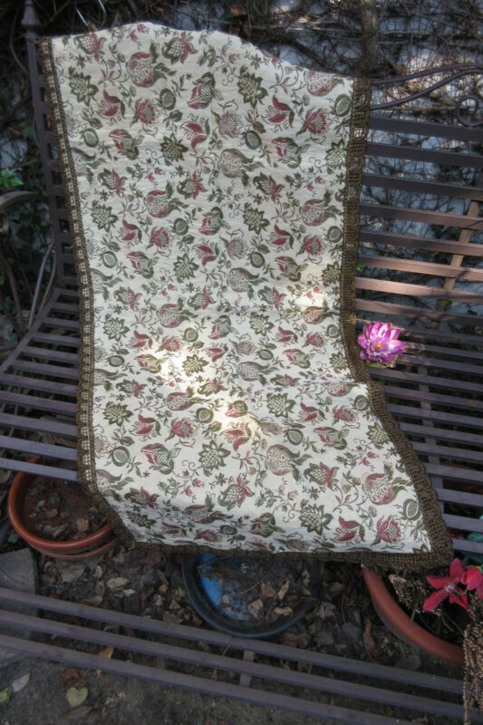 Table Runner Antique  from France  Brocade Damask big metallic brocade trim