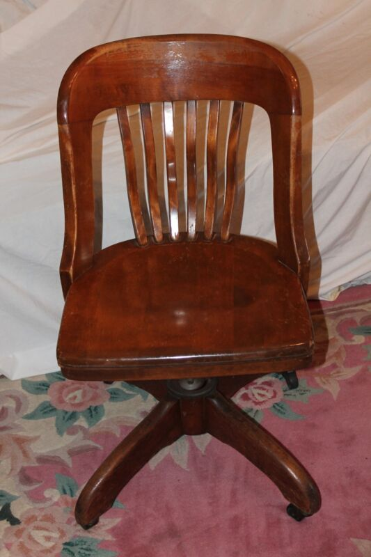 ANTIQUE DESK CHAIR OFFICE SWIVEL SLAT BACK CIRCA EARLY 1930