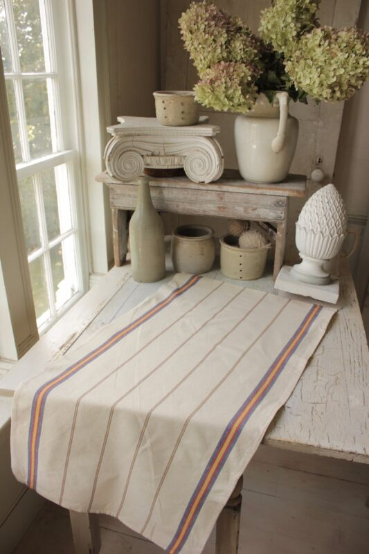 VINTAGE Towel French napkin cotton hemp striped kitchen antique cloth