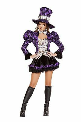 Roma 4pc Tea Party Vixen Mad Hatter Deluxe Black & Purple Costume - Deluxe Tea Party Hatter Costume