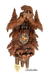 cuckoo clock black forest 8 day original german carved wood music  Hönes bears