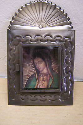 "Mexican Tin and Glass ""sunrise"" Nicho with Virgin of Guadalupe Image - Mexico"