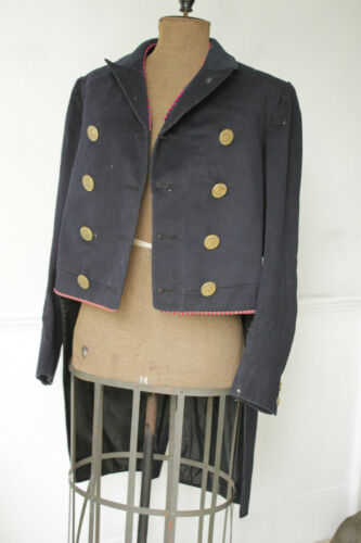 Vintage French coat jacket with tailcoat uniform metal buttons heraldic buttons